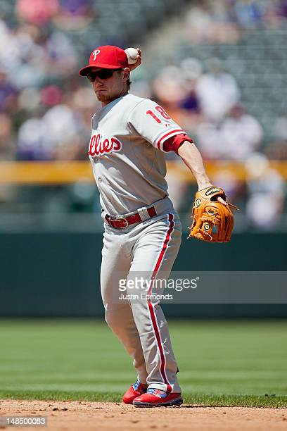 Second baseman Mike Fontenot of the Philadelphia Phillies in action against the Colorado Rockies at Coors Field on July 15 2012 in Denver Colorado...
