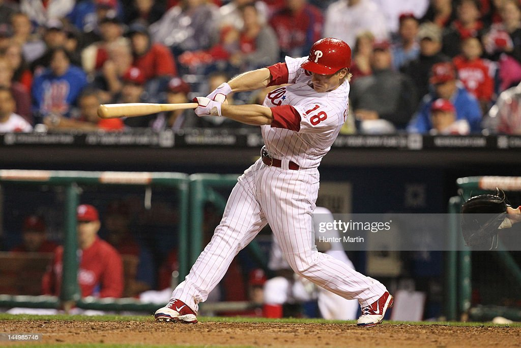 Second baseman <a gi-track='captionPersonalityLinkClicked' href=/galleries/search?phrase=Mike+Fontenot&family=editorial&specificpeople=2493045 ng-click='$event.stopPropagation()'>Mike Fontenot</a> #18 of the Philadelphia Phillies singles during a game against the Washington Nationals at Citizens Bank Park on May 21, 2012 in Philadelphia, Pennsylvania. The Nationals won 2-1.