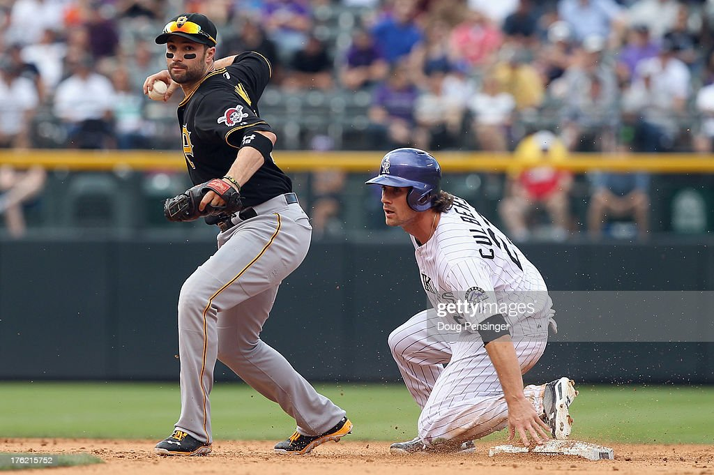 Second baseman Neil Walker #18 of the Pittsburgh Pirates gets a force out on Charlie Culberson #23 of the Colorado Rockies at Coors Field on August 11, 2013 in Denver, Colorado. The Rockies defeated the Pirates 3-2 and swept the three game series.