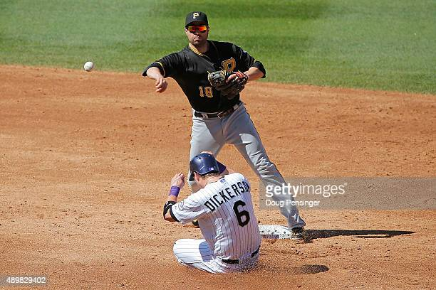 Second baseman Neil Walker of the Pittsburgh Pirates gets a force out on Corey Dickerson of the Colorado Rockies but was unable to turn the double...