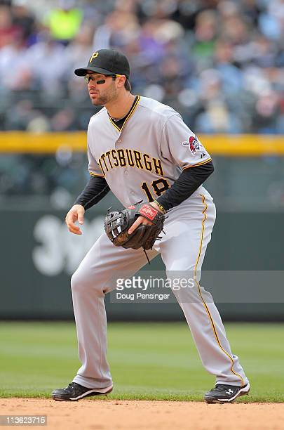 Second baseman Neil Walker of the Pittsburgh Pirates plays defense against the Colorado Rockies at Coors Field on May 1 2011 in Denver Colorado The...