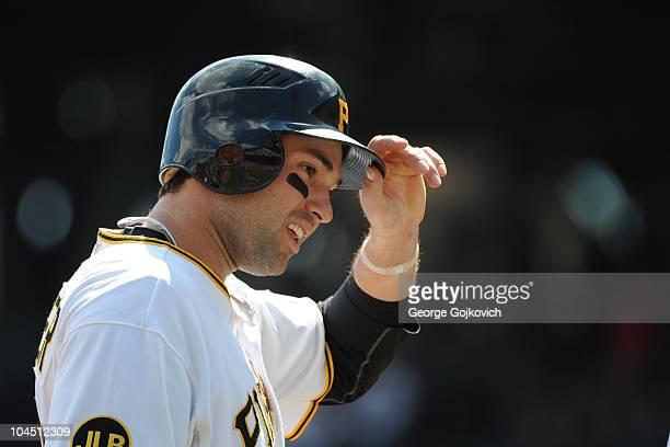 Second baseman Neil Walker of the Pittsburgh Pirates removes his helmet after batting during a Major League Baseball game against the Washington...
