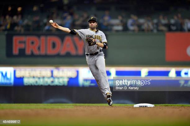 Second baseman Neil Walker of the Pittsburgh Pirates throws to first base during the second inning against the Milwaukee Brewers at Miller Park on...