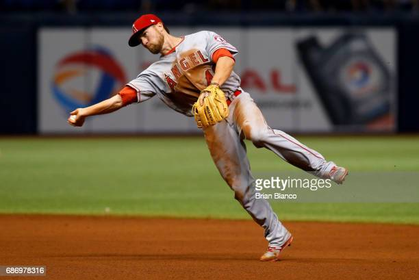 Second baseman Nolan Fontana of the Los Angeles Angels fields the ground out by Kevin Kiermaier of the Tampa Bay Rays during the sixth inning of a...