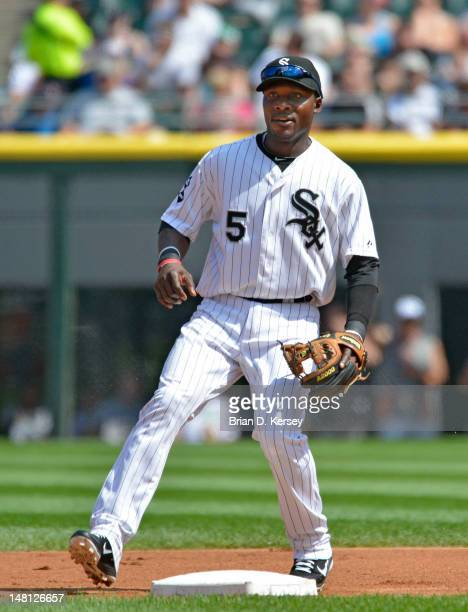 Second baseman Orlando Hudson of the Chicago White Sox covers the base against the Toronto Blue Jays on July 7 2012 at US Cellular Field in Chicago...