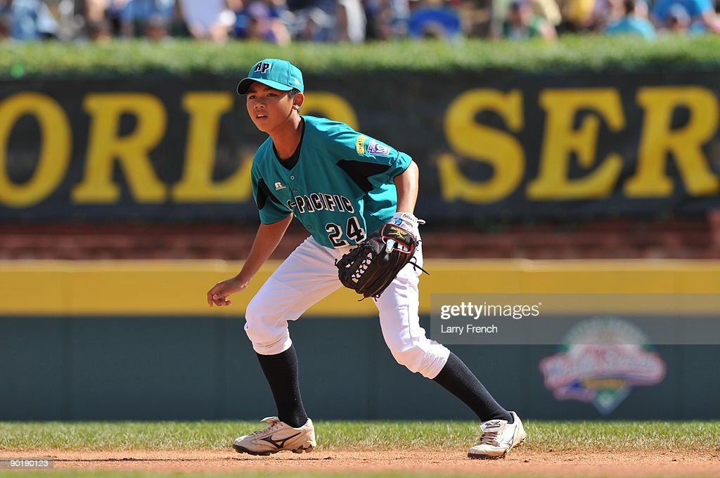 Second baseman Po Chuan Pan #24 of Asia Pacific (Taoyuan, Taiwan) anticipates the ball during the game against California (Chula Vista) in the little league world series final at Lamade Stadium on August 30, 2009 in Williamsport, Pennsylvania.