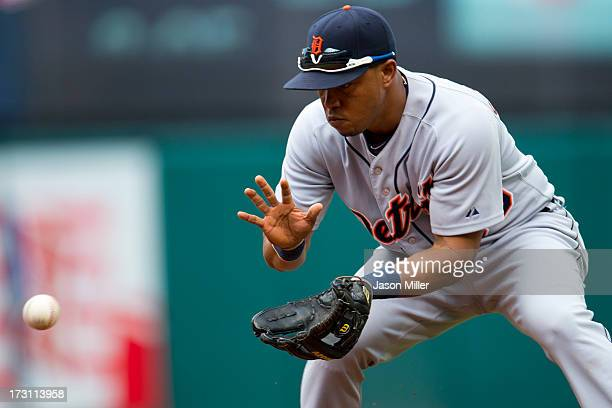 Second baseman Ramon Santiago of the Detroit Tigers fields a ground ball hit by Asdrubal Cabrera of the Cleveland Indians during the third inning at...