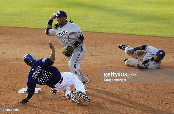 Second baseman Rickie Weeks of the Milwaukee Brewers gets a force out on Dexter Fowler of the Colorado Rockies on a ground ball hit by DJ LeMahieu of...
