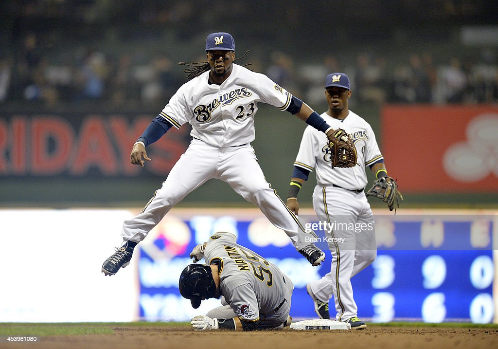 Second baseman <a gi-track='captionPersonalityLinkClicked' href=/galleries/search?phrase=Rickie+Weeks&family=editorial&specificpeople=550245 ng-click='$event.stopPropagation()'>Rickie Weeks</a> #23 of the Milwaukee Brewers leaps over <a gi-track='captionPersonalityLinkClicked' href=/galleries/search?phrase=Russell+Martin+-+Baseball+Player&family=editorial&specificpeople=13764024 ng-click='$event.stopPropagation()'>Russell Martin</a> #55 of the Pittsburgh Pirates after forcing him out and turning a double play on a ground ball hit by Gaby Sanchez during the third inning at Miller Park on August 22, 2014 in Milwaukee, Wisconsin.