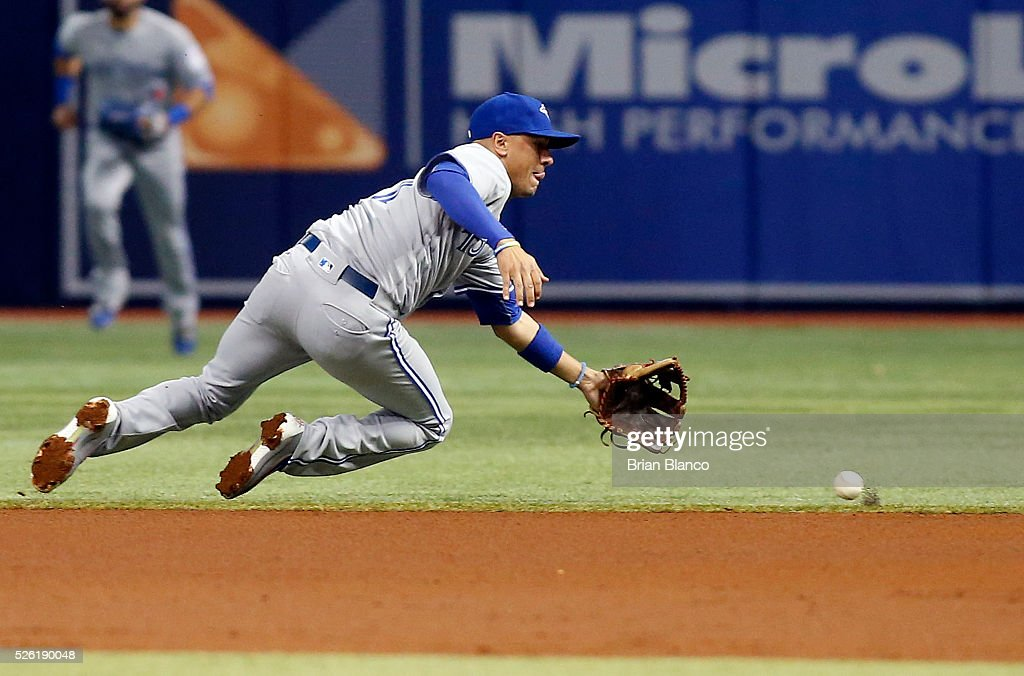 Second baseman <a gi-track='captionPersonalityLinkClicked' href=/galleries/search?phrase=Ryan+Goins&family=editorial&specificpeople=9004043 ng-click='$event.stopPropagation()'>Ryan Goins</a> #17 of the Toronto Blue Jays fields the ground out by Kevin Kiermaier of the Tampa Bay Rays to end the second inning of a game on April 29, 2016 at Tropicana Field in St. Petersburg, Florida.