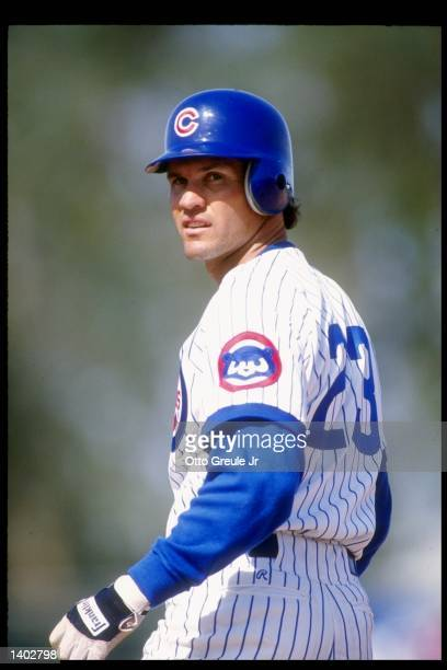 Second baseman Ryne Sandberg of the Chicago Cubs stands on the field during a game at Wrigley Field in Chicago Illinois