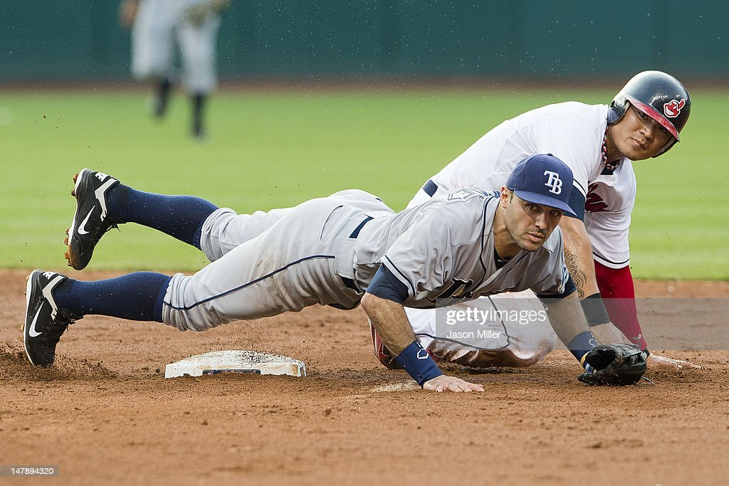 Second baseman <a gi-track='captionPersonalityLinkClicked' href=/galleries/search?phrase=Sean+Rodriguez&family=editorial&specificpeople=4171805 ng-click='$event.stopPropagation()'>Sean Rodriguez</a> #1 of the Tampa Bay Rays and <a gi-track='captionPersonalityLinkClicked' href=/galleries/search?phrase=Shin-Soo+Choo&family=editorial&specificpeople=196543 ng-click='$event.stopPropagation()'>Shin-Soo Choo</a> #17 of the Cleveland Indians watch to see the throw to first during the fourth inning at Progressive Field on July 5, 2012 in Cleveland, Ohio.
