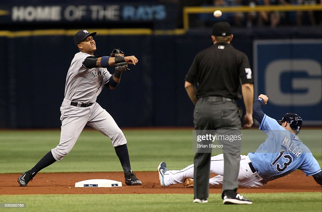 Second baseman <a gi-track='captionPersonalityLinkClicked' href=/galleries/search?phrase=Starlin+Castro&family=editorial&specificpeople=5970945 ng-click='$event.stopPropagation()'>Starlin Castro</a> #14 of the New York Yankees gets the forced out at second base on <a gi-track='captionPersonalityLinkClicked' href=/galleries/search?phrase=Brad+Miller+-+Baseball+Player&family=editorial&specificpeople=14752161 ng-click='$event.stopPropagation()'>Brad Miller</a> #13 of the Tampa Bay Rays off of the fielder's choice by Evan Longoria during the first inning of a game on May 29, 2016 at Tropicana Field in St. Petersburg, Florida.