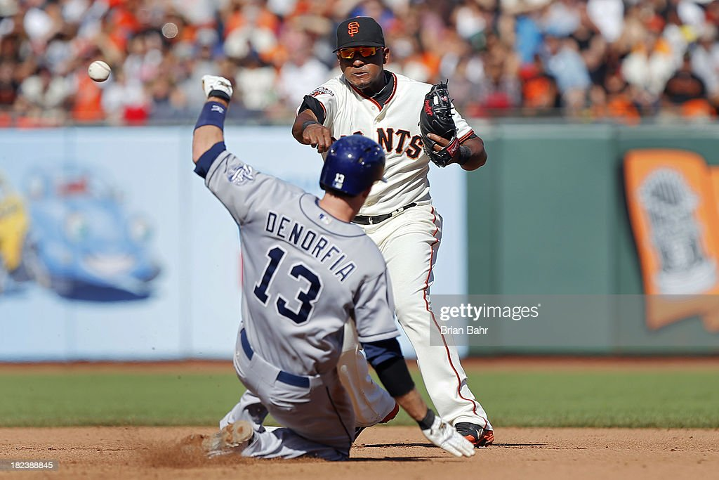 Second baseman Tony Abreau #10 of the San Francisco Giants forces out <a gi-track='captionPersonalityLinkClicked' href=/galleries/search?phrase=Chris+Denorfia&family=editorial&specificpeople=702417 ng-click='$event.stopPropagation()'>Chris Denorfia</a> #13 of the San Diego Padres for a double play against Jedd Gyorko in the sixth inning at AT&T Park on September 29, 2013 in San Francisco, California.