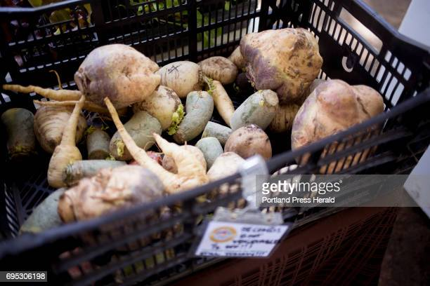 Second day bins are a great way to get still tasty produce at low prices This second day bin filled with root vegetables from Whatley Farm was being...