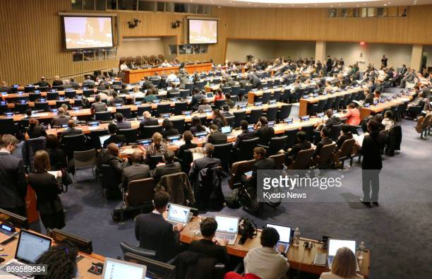 A second day of talks is held on March 28 2017 at a conference at the UN headquarters in New York to negotiate a treaty to ban nuclear weapons A...