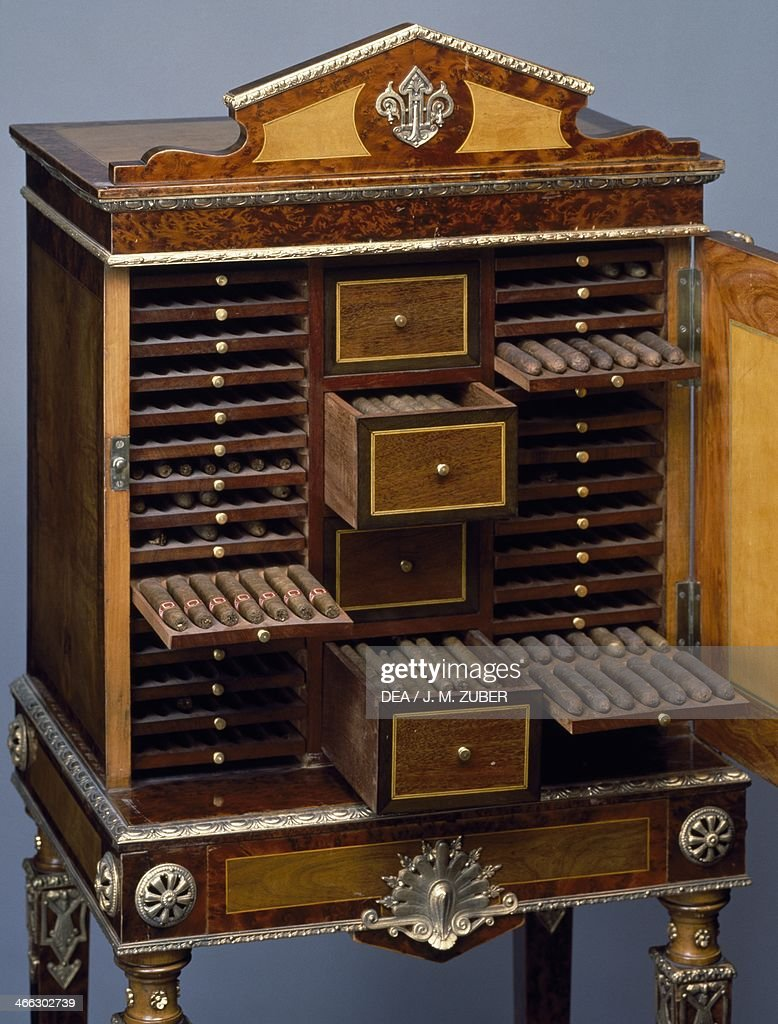 Second Empire style (Napoleon III) cigar humidor cabinet. France, second half 19th century. Detail.