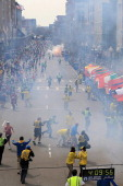 A second explosion goes off near the finish line of the 117th Boston Marathon on April 15 2013