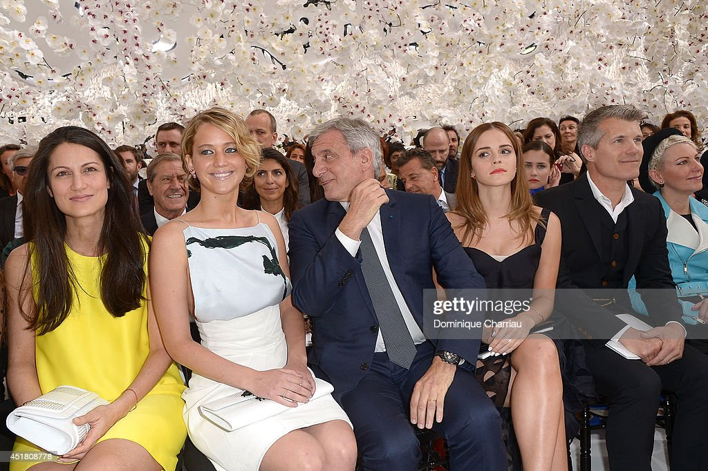 Second from left, <a gi-track='captionPersonalityLinkClicked' href=/galleries/search?phrase=Jennifer+Lawrence&family=editorial&specificpeople=1596040 ng-click='$event.stopPropagation()'>Jennifer Lawrence</a>, <a gi-track='captionPersonalityLinkClicked' href=/galleries/search?phrase=Sidney+Toledano&family=editorial&specificpeople=758670 ng-click='$event.stopPropagation()'>Sidney Toledano</a> and <a gi-track='captionPersonalityLinkClicked' href=/galleries/search?phrase=Emma+Watson&family=editorial&specificpeople=171373 ng-click='$event.stopPropagation()'>Emma Watson</a> attend the Christian Dior show as part of Paris Fashion Week - Haute Couture Fall/Winter 2014-2015 on July 7, 2014 in Paris, France.