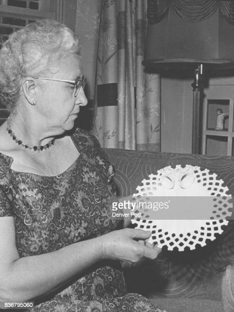 Second Hobby Another of Mrs Kramer's hobbies is ceramics Here she displays an unfinished wedding plate she has fashioned from raw clay The piece must...