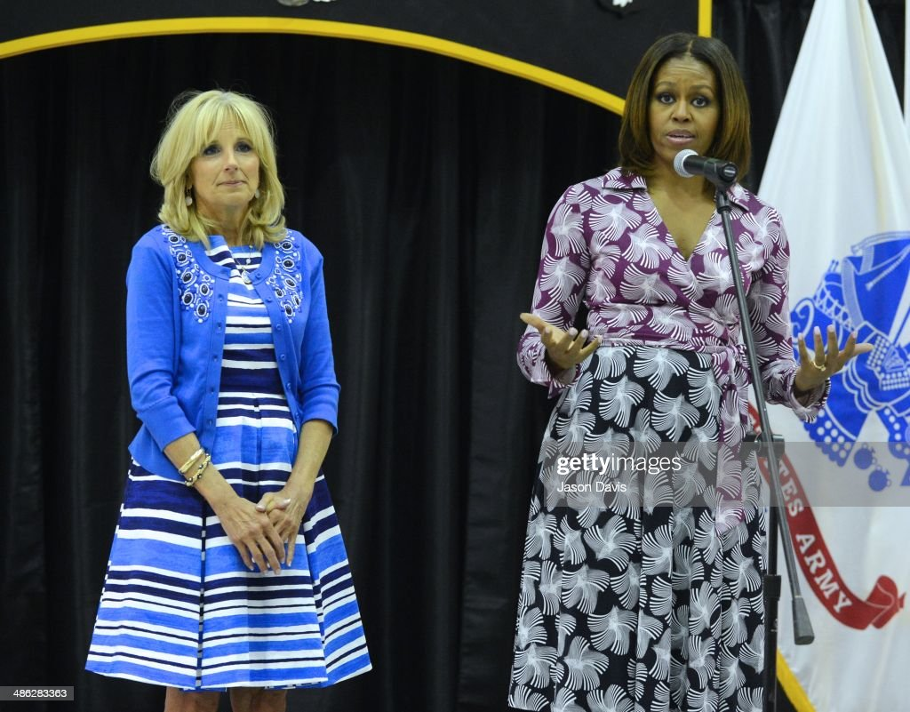 Second Lady of The United States Dr. <a gi-track='captionPersonalityLinkClicked' href=/galleries/search?phrase=Jill+Biden&family=editorial&specificpeople=997040 ng-click='$event.stopPropagation()'>Jill Biden</a> and First Lady of The United States <a gi-track='captionPersonalityLinkClicked' href=/galleries/search?phrase=Michelle+Obama&family=editorial&specificpeople=2528864 ng-click='$event.stopPropagation()'>Michelle Obama</a> attend a private reception after the Fort Campbell Veterans Jobs Summit and Career Forum on Fort Campbell on April 23, 2014 in Clarksville, Tennessee.