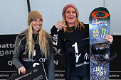 Second Laurie Blouin of Canada and first place Jamie Anderson of the United States pose on the podium during the medal ceremony for the Women's FIS...