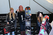 Second Laurie Blouin of Canada first place Jamie Anderson of the United States and third place Hailey Langland of the United States pose on the...