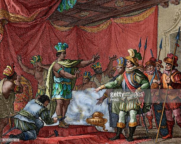 Second letter of Relation by Hernan Cortes To punish the betrayal of Aztec hero Cuauhpopoca Cortes took prisoner Moctezuma II Engraving 1807 Colored