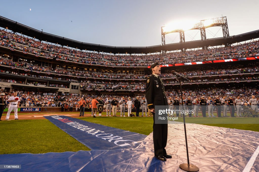 Second Lt. Scotty Newlands sings the Canadian national anthem during the 84th MLB All-Star Game at Citi Field on Tuesday, July 16, 2013 at Citi Field in the Flushing neighborhood of the Queens borough of New York City.