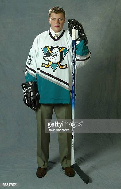 Second overall draft pick Bobby Ryan of the Mighty Ducks of Anaheim poses for a portrait during the 2005 National Hockey League Draft on July 30 2005...
