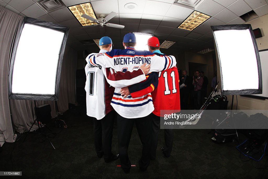 Second overall pick Gabriel Landeskog of the Colorado Avalanche, first overall pick Ryan Nugent-Hopkins of the Edmonton Oilers and third overall pick Jonathan Huberdeau of the Florida Panthers pose for a photo portrait during day one of the 2011 NHL Entry Draft at Xcel Energy Center on June 24, 2011 in St Paul, Minnesota.