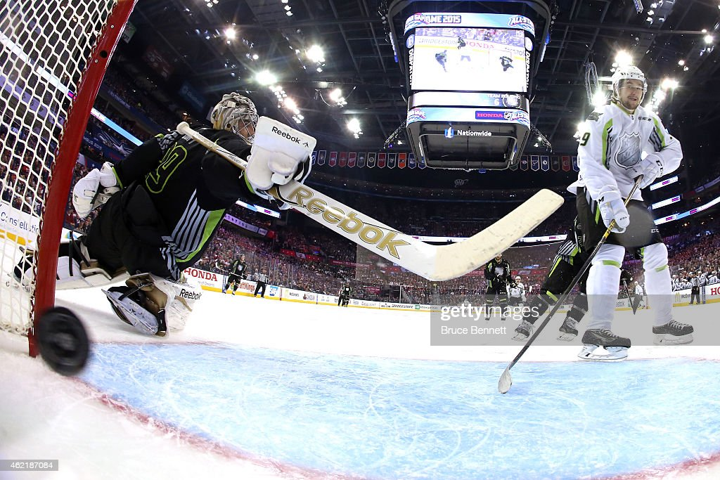 A second period goal bt Team Toews gets past Marc AndreFleury of the Pittsburgh Penguins and Team Foligno during the 2015 Honda NHL AllStar Game at...