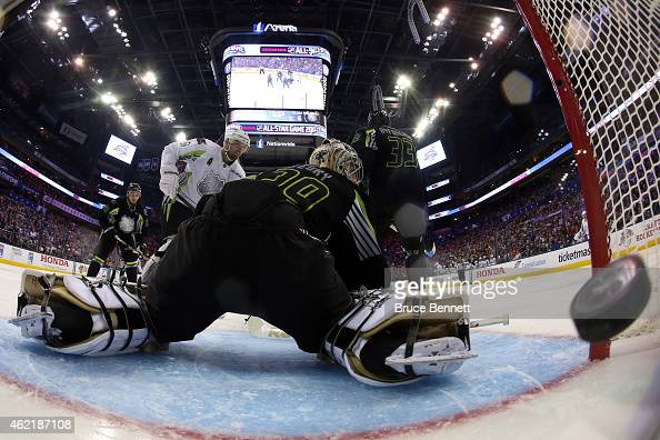 A second period goal by Team Toews gets past Marc AndreFleury of the Pittsburgh Penguins and Team Foligno during the 2015 Honda NHL AllStar Game at...