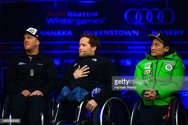 Second place Corey Peters of New Zealand first place Tyler Walker of the United States and third place Sang Min Han of Korea pose during the medal...
