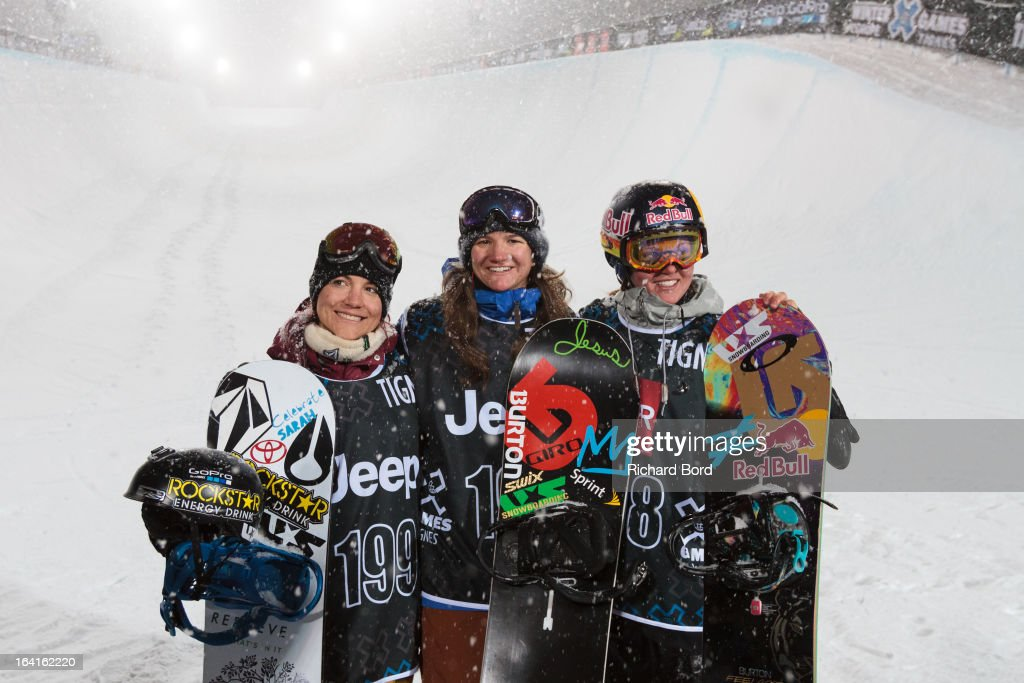 Second place Elena Hight, first place Kelly Clark and third place Arielle Gold pose after the Women's Snowboard Superpipe final during day three of Winter X Games Europe 2013 on March 20, 2013 in Tignes, France.
