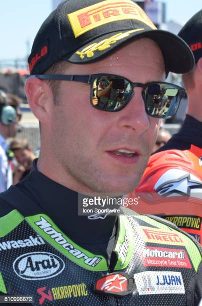 Second place finisher of Race One Jonathan Rea Kawasaki ZX10RR Kawasaki Racing Team is interviewed by the media at the SBK/MOTUL FIM Superbike World...