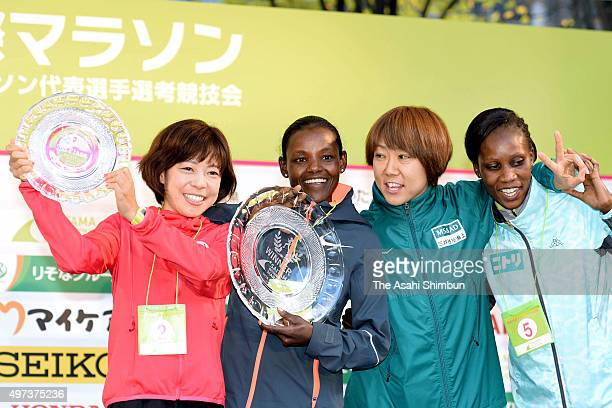 Second place Kaori Yoshida winner Atsede Baysa of Ethiopia fourth place Yoko Shibui and fifth place Winfridah Mochache Kebaso of Kenya pose for...