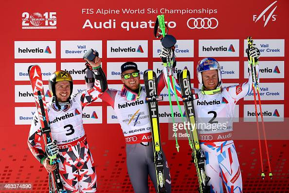 Second place Marcel Hirscher of Austria first place Ted Ligety of the United States and third place Alexis Pinturault of France celebrate after the...