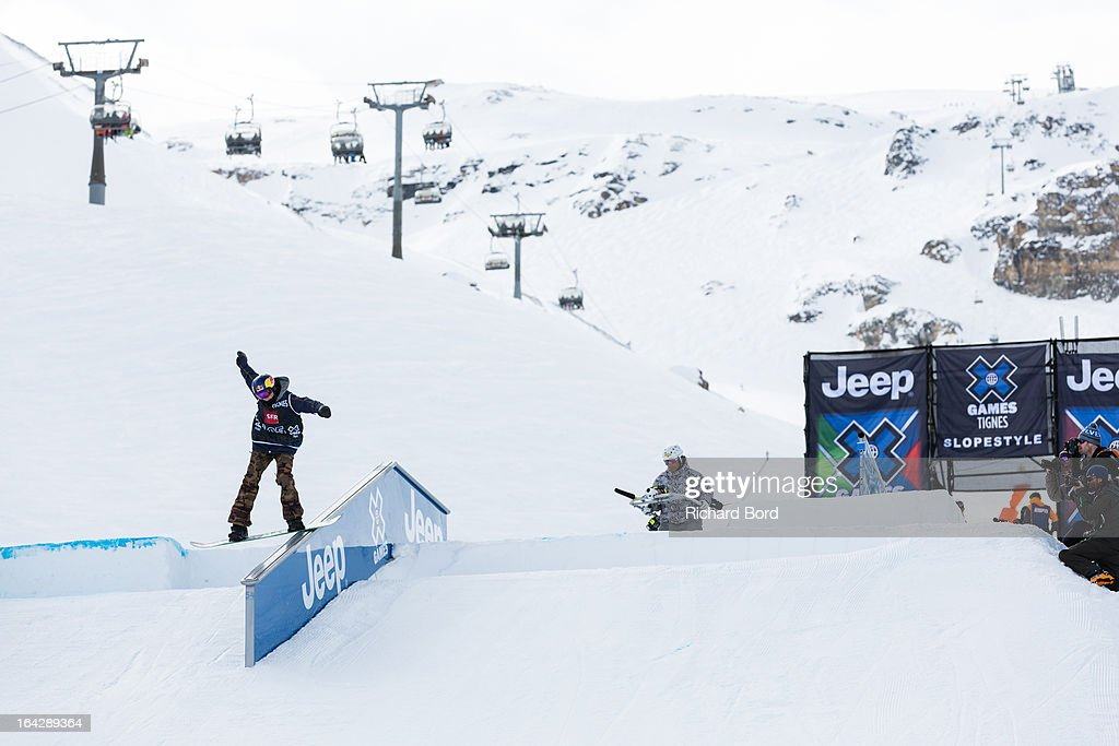Second place Mark McMorris of Canada performs during the Men's Snowboard Slopestyle final during day five of Winter X Games Europe 2013 on March 22, 2013 in Tignes, France.