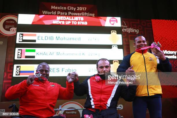 Second Place Mohammed Khalaf of the United Arab Emirates First Place Mohamed Eldib of Egypt and Fabio Torres of Colombia poses with their medals...