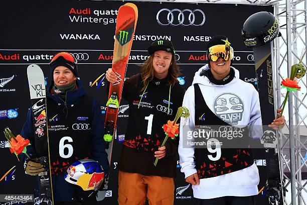 Second place Oystein Braaten of Norway first place James Woods of Great Britain and third place Joss Christensen of the United States pose during the...