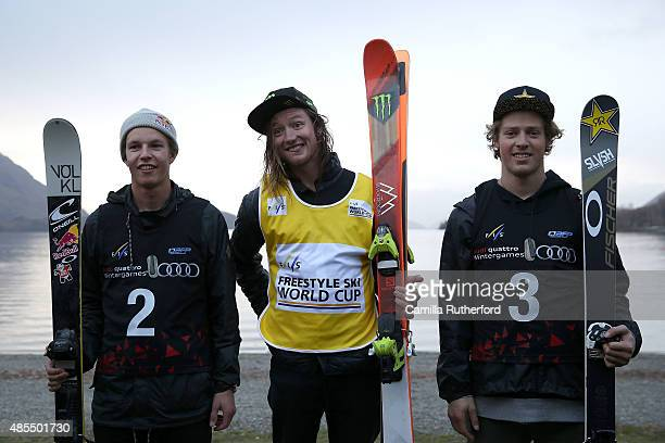 Second place Oystein Braaten of Norway first place James Woods of Great Britain and third place Joss Christensen of the United States pose of the...