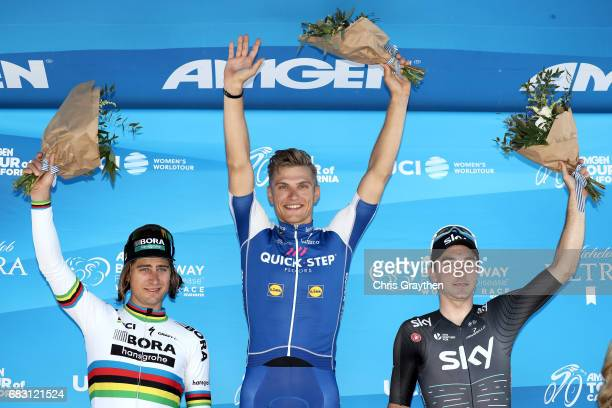 Second place Peter Sagan of Slovakia riding for Bora hansgrohe stage winner Marcel Kittel of Germany and Elia Viviani of Italy riding for Team Sky...