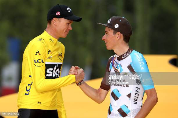 Second place Rigoberto Uran of Colombia riding for Cannondale Drapac overall winner Christopher Froome of Great Britain riding for Team Sky and third...