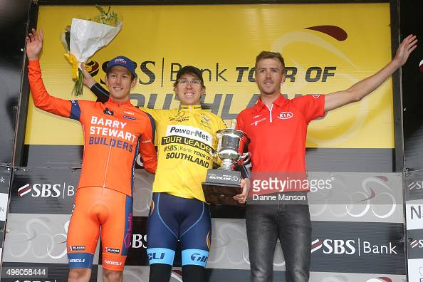 Second place Robbie Hucker of Australia first place Brad Evans of Dunedin and third place Mike Northey of North Shore in the Tour of Southland on...