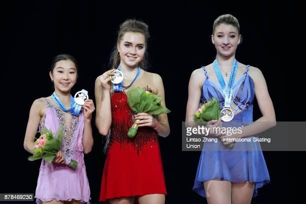 Second place winner Elizabet Tursynbaeva of Kazakhstan First place winner Elena Radionova of Russia and Third place winner Maria Sotskova of Russia...
