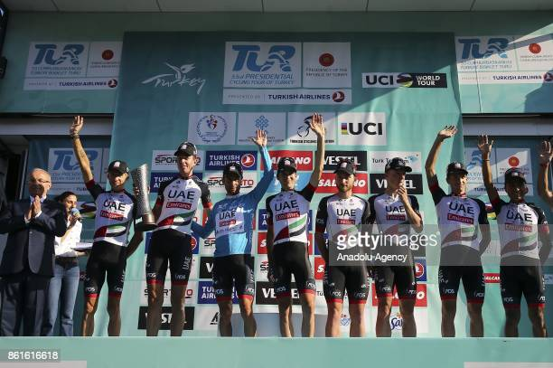 Second place winner Emirates team raise the trophy after the 53rd Presidential Cycling Tour of Turkey 2017 in Istanbul Turkey on October 15 2017