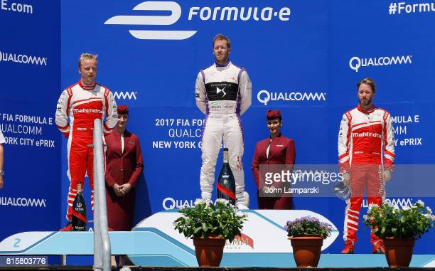 Second place winner Felix Rosenqvist fromMachindra Racing first place winner Sam Bird from Virgin Racing and third place winner Nick Heidfeld from...
