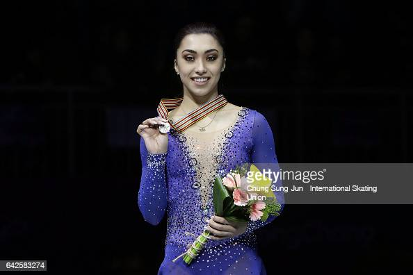 Second place winner Gabrielle Daleman of Canada pose on the podium after the medals ceremony of the Ladies skating during ISU Four Continents Figure...
