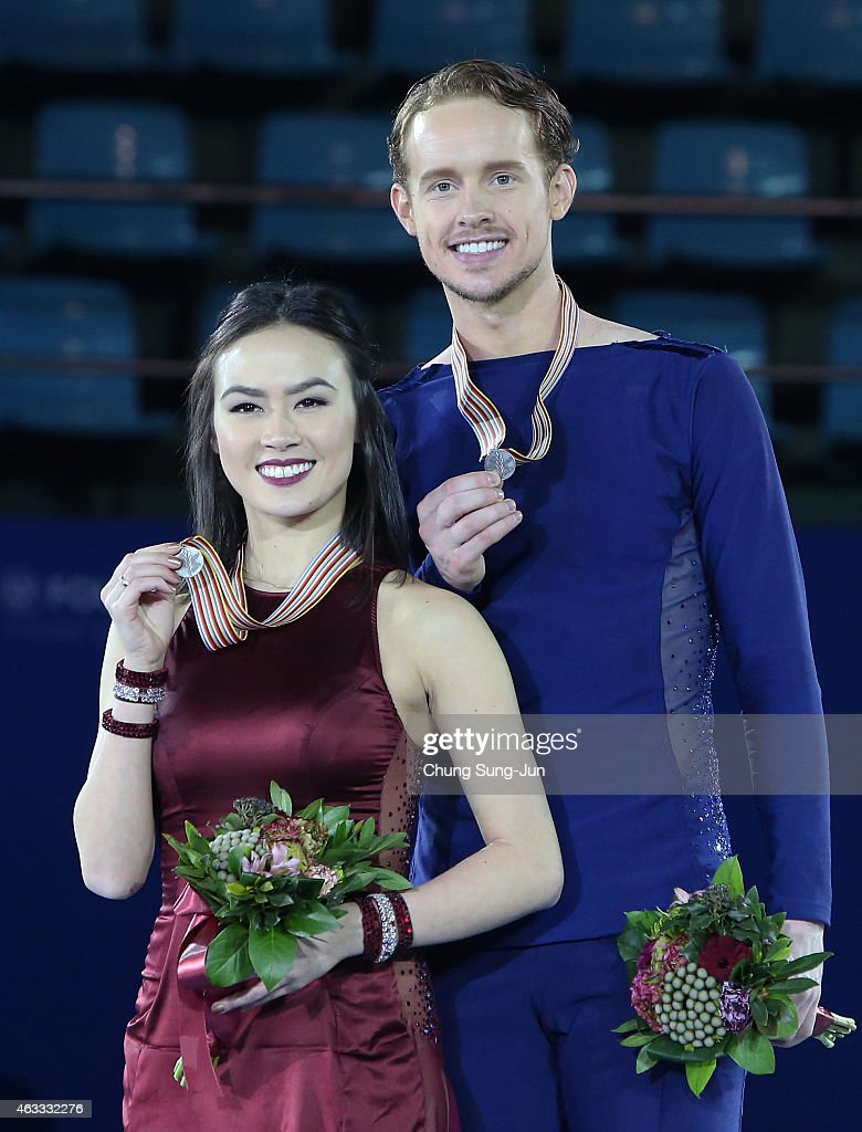 Second place winner Madison Chock and Evan Bates of United States pose on the podium after the medals ceremony of the Ice Dance on day two of the ISU...